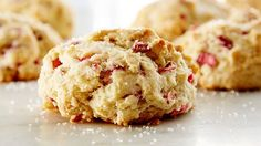 Rhubarb Drop Scones - NOTES: Very easy! Try with strawberries, blueberries, raspberries. Compare to other recipes with heavy cream