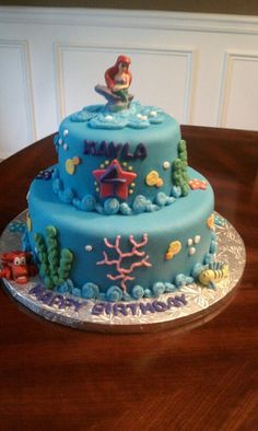 Little Mermaid birthday cake I need this... my birthday is only 11 days away, get on it people