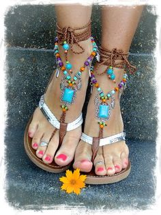 HAMSA hand BAREFOOT sandals tribal belly Dance foot by GPyoga