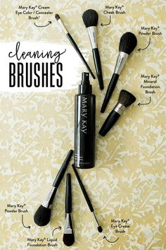 Is cleaning your makeup brushes part of your beauty routine? Mary Kay® Brush Cleaner makes it easy! 1. Spray brush cleaner directly onto brush hairs until thoroughly dampened. 2. Gently sweep brush over tissue to remove excess moisture and to wipe away makeup residue and colour. 3. Reshape brush hairs with a clean tissue, lay flat and allow to air dry before using.