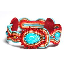 Soutache brancelet exclusive handmade to buy turquoise red orange beige gift unique for sale jewelry pulsera Armband braccialetto by ForQueen on Etsy