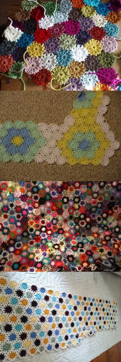 "Yo-yo pattern, free from Priscilla Hewitt. Each yo-yo is only 2 rounds of DC, about 2"" across - perfect for using up scraps. So many different looks depending on color choices, with three different joining methods given. If an afghan is too tedious, these make a cute scarf, trivet, or potholder. (Pics from Ravelry Project Gallery: http://www.ravelry.com/patterns/library/yo-yo-scrap-afghans ) . . . . ღTrish W ~ http://www.pinterest.com/trishw/ . . . ."