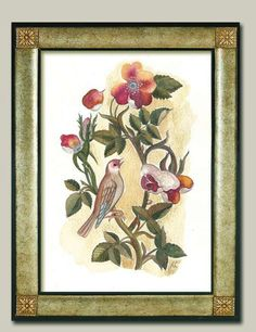 Title Bird between hawthorn flowers Archival by ArtistWatercolor, $20.00