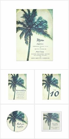 Vintage Palm Tree Beach Wedding Collection A beautiful vintage watercolor palm tree design wedding collection for your tropical or beach wedding. This collection includes beach wedding invitations, rsvp cards, postage stamps, wedding favor stickers, menu and accommodation cards, cocktail napkins, thank you cards + more. Visit our store to see all the products.