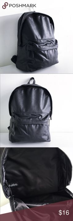 """Faux leather backpack Ooooooo. How cool and slick and minimal. If I wasn't trying to slim down my life I probably would not be getting rid of this lovely beauty! Used once - primo condition. 15""""x15""""x8"""" H&M Bags Backpacks"""