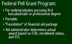 Information about the Pell Grant