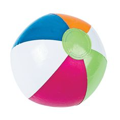 Inflatable Spring Brights Beach Balls - OrientalTrading.comi got these and green,blue, yellow solid colors also
