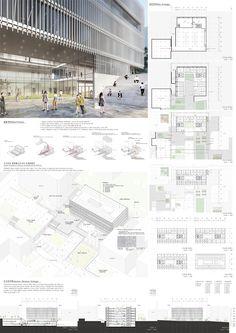서울시립대학교 미래융합관 설계공모_WebDRM[iZn] Public Architecture, Revit Architecture, Colour Architecture, Architecture Presentation Board, Presentation Layout, Art Deco Bedroom, Photoshop, Design Projects, Landscape
