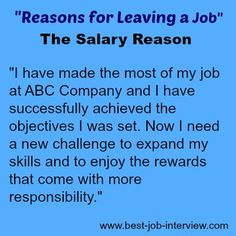Reasons for Leaving a Job - the salary explanation