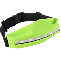 LED Light Running Fitness Waist Pack Zippered Pocket Jogging Sports Belt Green  -- You can get additional details at the image link.(This is an Amazon affiliate link and I receive a commission for the sales)
