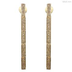 Genuine Pave Diamond Stick Earrings 18 K Yellow Gold Mother's Day GIft Jewelry #Handmade