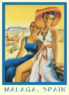 Fashion Ladies Girls Beach in Malaga Spain Travel Tourism Europe Vintage Poster Repro X Image Size. We Have Other Sizes Available! Travel Ads, Travel And Tourism, Spain Travel, Travel Luggage, Retro Illustration, Illustrations, Vintage Advertisements, Vintage Ads, Vintage Beach Posters