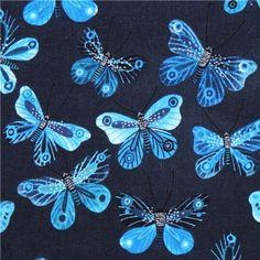 navy blue 'Butterflies' animal Cloud 9 organic cotton fabric 1