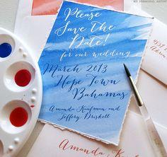 Unique Watercolor Beach Wedding Save the Dates \ MospensStudio.com