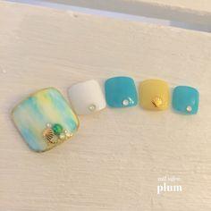 ネイル 画像 nail salon plum 大村 1680160 白 黄色 緑 マリン タイダイ 夏 海 浴衣 リゾート ソフトジェル フット