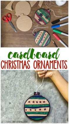Make some fun cardboard christmas ornaments with the kids! Fun christmas craft/ art project to make that is cheap and easy. Fun to decorate. Classroom idea. #christmas #christmascrafts #christmasornaments #ornaments #diyornaments #christmasdiy #home #forthefamily #kidcrafts