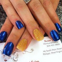 #perfectlypamperedsalon #pamperedtoperfection #fullservice #salon #philippi #wv #acrylic #nails #blue #gold #caviar #wvu