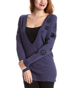 Blue Embellished Silk-Blend V-Neck Sweater by Ebene #zulily #zulilyfinds I am drawn to the embroidery on this sweater.