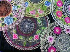 fiber art idea - doilies, embroidery, silk ribbon, etc