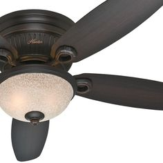 "$109 - Hunter Fan 52"" Hugger Ceiling Fan in Onyx Bengal with a Florence Glass Light Kit, 5 Blade (Certified Refurbished)"