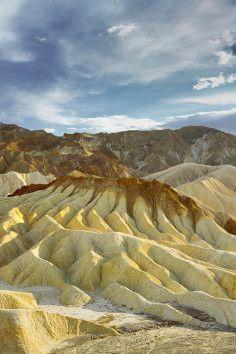 Zabriskie Point, beautiful erosional landscape in Death Valley, California.