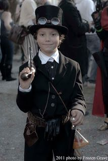 Seeing a Steampunk kid makes me so happy. It really gives a sense of community I think when you notice how enjoyable Steampunk can be for all ages and people.
