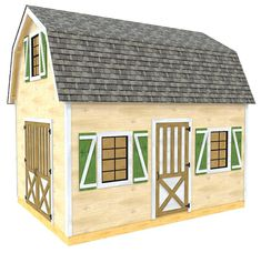 The Evelyn shed plan is a barn style structure with two levels and lots of storage space.