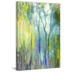 "ParvezTaj 'Painted Tree Forest' by Parvez Taj Painting Print on Wrapped Canvas Size: 60"" H x 40"" W x 1.5"" D"