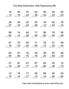 Worksheets Two Digit Subtraction With Regrouping Worksheets worksheets and subtraction on pinterest two digit worksheet with some regrouping 49 questions m subtraction