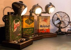 Attention: Only the Castrol lamp is still available. - Attention: Only the Castrol lamp is still available. The others have already been sold. At …, lam - Car Part Furniture, Automotive Furniture, Automotive Decor, Pipe Lighting, Retro Lighting, Cool Lighting, Lampe Steampunk, Car Part Art, Edison Lampe