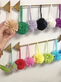 Raffia Pom Poms with Loops for Crafts, Easter Decor, Spring Crafts, Raffia Purse Charm, Pom Pom for Easter Crafts, Easter Decor, Diy And Crafts, Crafts For Kids, Holiday Ornaments, Christmas Decor, Modern Christmas, Bubblegum Pink, How To Make Earrings