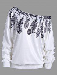 Feather Print Skew Neck Drop Shoulder Sweatshirt - WHITE