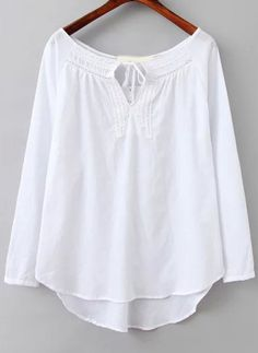 White Long Sleeve Hollow Dip Hem Blouse - abaday.com