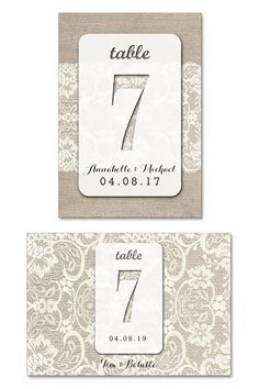 These table numbers look like wedding lace on burlap. Cute combination for a country chic wedding. Tap and look for these as the third or fourth buy listing on the page. Only about a dollar each! In the My Online Wedding Help products section. #WeddingLace #TableNumbers #MyOnlineWeddingHelp #CountryChicWedding  #BurlapWedding #WeddingTableIdeas