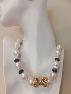 White Baroque Pearl Necklace with Sapphire Swarovski Beads and Clasp $2500