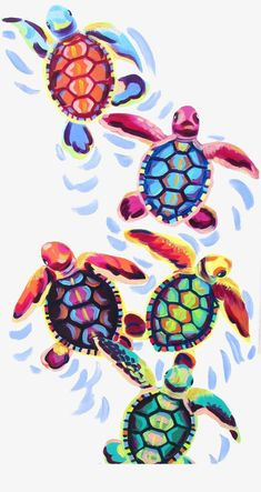 Sea Turtle Hatchlings Painting by Kelsey Rowland- original animal art sea turtle hatching beach house pink blue green purple orange - Crafts For The Times Turtle Hatching, Illustration Photo, Landscape Illustration, Painting & Drawing, Painting Canvas, Painting Rugs, Painting Doors, Interior Painting, Painting Prints