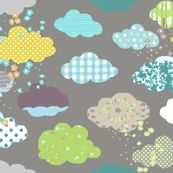 Clouds in grey fabric- spoonflower
