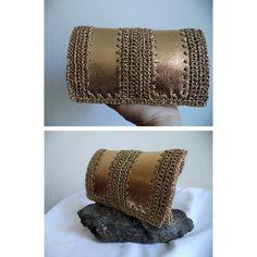 GOLD leather Clutch Leather Bag case Vintage by MushkaVintage3