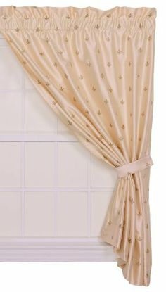 Ellis Curtain Fleur Di Lis 50-Inch by 63-Inch Faux Silk Lined Tailored Panel with Tieback, Ivory by Ellis Curtain. Save 11 Off!. $57.85. 100% Polyester. Each lined curtain panel is 100-percent polyester faux silk fabric that has a wonderful sheen and textured ground. Each panel is constructed with a 3-inch rod pocket, 3-inch header and 4-3/4-inch weighted bottom hem. Coordinating Fleur-Di-Lis valances, shower curtain and toss pillows also available thru Amazon; Made in the USA dry clean…