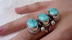 Turquoise Ring Sterling Silver Turquoise Ring Large by ShopSparrow, $79.99