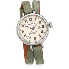 Shinola Birdy Stainless Steel & Leather Double-Wrap Watch/Jade Green (7.191.030 IDR) ❤ liked on Polyvore featuring jewelry, watches, apparel & accessories, stainless steel jewelry, stainless steel watches, pandora jewelry y womens jewellery