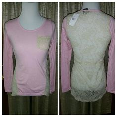 Rue 21 Shirt Bundle New With Tags Two very cute shirts with sheer lace back. Pink shirt has Ivory lace trim and back. Peach colored shirt has peach lace trim. Rue 21 Tops