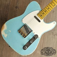 Sonic Blue relic roadworn Telecaster Warmoth Maple Neck Fender Swamp Ash Body aged Nitro Finish Arty's Custom Guitars