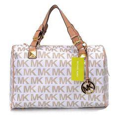 91bf7306d8db MICHAEL Michael Kors Grayson Signature PVC Medium Satchel White/Beige  Handbags Michael Kors, Michael