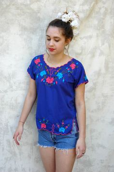 Mexican Embroidered Blouse Blue Bohemian Hippy Top by Chicaluna, $24.00 https://www.etsy.com/listing/184311442/mexican-embroidered-blouse-blue-bohemian?ref=pr_shop