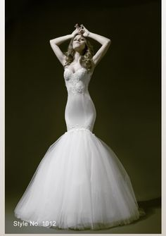 Pnina Tornai mermaid style wedding gown with a sweet heart neckline