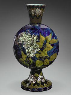 'Lilac vase' (circa 1878-1883). Wheel-thrown earthenware with underglaze decoration by John Bennett ( 1840–1907).
