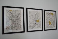 Frame fabric for wall art - try coloring in part of a black and white design with another colored marker.