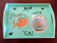 A personal favorite from my Etsy shop https://www.etsy.com/listing/264078253/cat-food-tray-dr-suess-style-cat-food