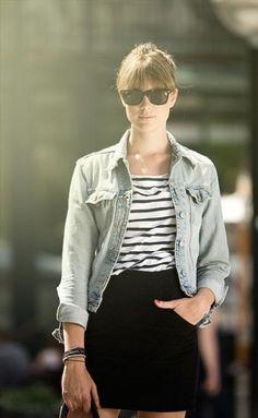black + white / stripes / denim jacket